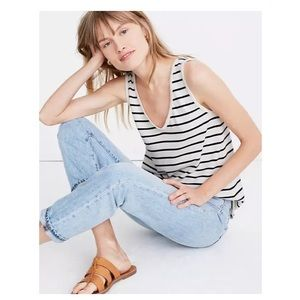 Madewell Tomboy V Neck Tank Top in Stripe